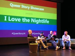 Q&A with drag artist Cheddar Gorgeous, writer Dave Haslam, film producer Chris Amos and host Adam Lowe.